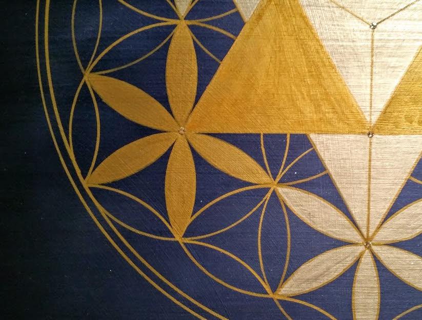 Merkaba Blume des Lebens modernes Gemälde Wandbilder Acryl handgemalt