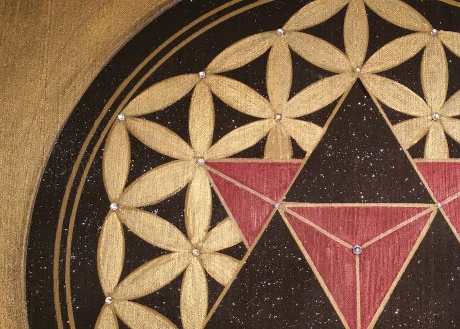 Merkaba und Blume des Lebens Kunst-Gemälde in Acryl auf Leinwand handgemalt
