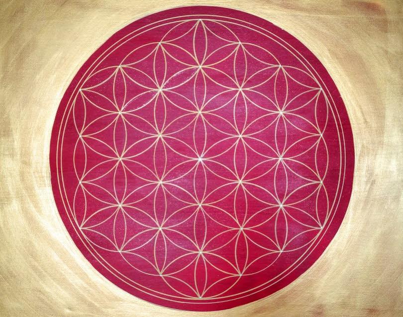 Blume des Lebens Wandbilder esoterisch modern in Acryl handgemalt